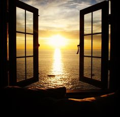 I love the sunset. Looking Out The Window, Through The Looking Glass, Window View, Open Window, Through The Window, Windows, Beautiful Places, Scenery, Around The Worlds