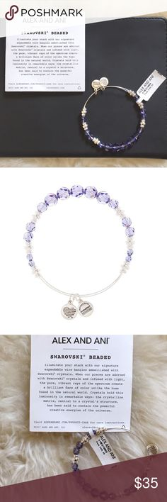 "Alex And Ani Swarovski Crystal Royal Beaded Bangle New With Tags- silver tone expandable wire bangle bracelet embellished with lavender Swarovski Crystals. Made in USA. Diameter 2""-3.5"". Alex and Ani Jewelry Bracelets"