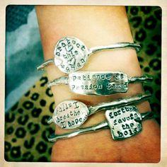 Inspirational Bangles.  #bracelet #jewelry #cowgirljewelry #inspiration #bangles #bangle #bracelets  islandcowgirl.com  http://www.facebook.com/IslandCowgirlJewelry