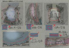 """""""【何も無い空間をレイアウト?】 アニメではキャラの動く空間が最優先のレイアウト。 周りを取り囲む背景が、見えない空間をデザインする。 まずは空間のアウトライン。その空間を囲むように背景を書き足す。キャラの動きの空間をもつレイアウトだ。 http://t.co/qsiT3yqtwe"""""""