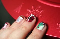 Merry Christmas Nail Art check out www.MyNailPolishObsession.com for more nail art ideas.