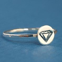 Faux Diamond Ring , Sterling Silver Ring , Itty Bitty Collection by Catherine Marissa on Etsy, $25.00