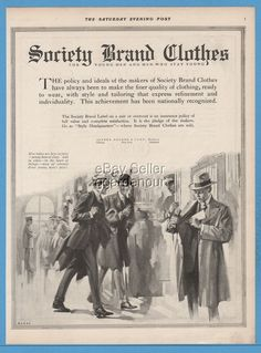 1918 Alfred Decker & Cohn Chicago IL Society Brand Clothes suit bowler hat ad
