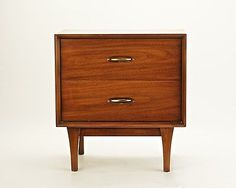 Mid Century Mod 2 Drawer Walnut and Pecan Nightstand / End Table by ...