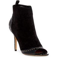 Salvatore Ferragamo Liska Open Toe Bootie ($600) ❤ liked on Polyvore featuring shoes, boots, ankle booties, black, black patent leather booties, open toe bootie, open toe ankle boots, black bootie boots and black open toe booties