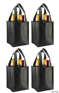 Wine Tote - Reusable Non-Printed Wine Tote- 4 Pack