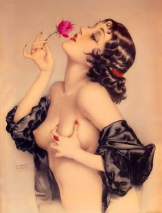 """theamazingmindofmooskatheminnie: """" (via The Great American Pinup) A beauty almost 100 years old - Alberto Vargas - """"Memories of Olive"""" 1920 - A very sensual painting by Vargas from the very early years. Olive Thomas was a dancer for the Ziegfeld..."""