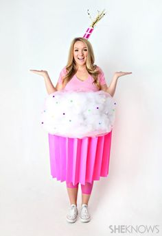 Craft a cupcake costume with a giant bucket of some art supplies. | Brilliant Ways To Dress Like Food For Halloween