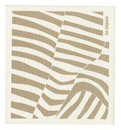 """Schwammtuch """"Zebra"""" (weiß/ cappuccino). Das bedruckte Schwammtuch ist ein Naturprodukt und einfach in der Waschmaschine zu reinigen. Er verfärbt nicht, hat eine lange Lebensdauer und ist kompostierbar. Produziert in Deutschland. 20 cm x 22 cm. 70% Viskose, 30% Baumwolle. - Erhältlich bei: http://shop.hokohoko.com"""