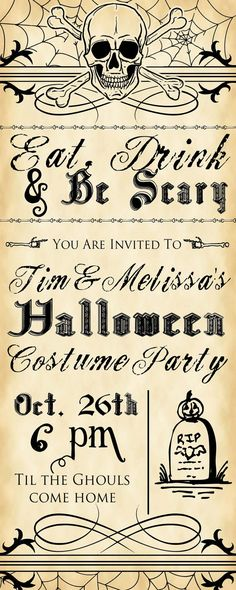Eat, Drink, & Be Scary Halloween Party Invitation, $15 for customization and printable file