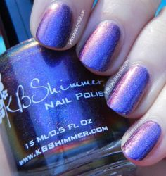 KB Shimmer:  ★ Myth you Lots ★ ... multichrome nail polish.   Purple based holo shifter,  from Purple to Magenta to Blue and Copper. The holographic effect is linear, yet subtle.
