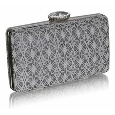 Vintage Twenties Style Lace Silver  & White Crystal Clasp Clutch Bag Fashion