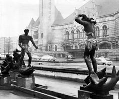 Pranksters put swimming wear on the statues in December 1967. Presumably, the gag was a play on the fuss over nudity in the late 1930s. (Renyold Ferguson, St. Louis Post-Dispatch)