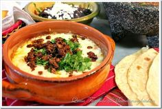 Queso fundido with chorizo Chorizo Cheese Dips. What you tried Queso Fundido? At home or at a restaurant? Authentic Mexican Recipes, Mexican Food Recipes, Snack Recipes, Cooking Recipes, What's Cooking, Dip Recipes, Copycat Recipes, Salad Recipes, Keto Recipes