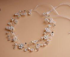 Perlas de agua dulce y diadema cristal vid, vid de pelo de cristal, diadema…