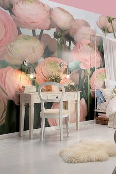 Oh my gosh. Most romantic bedroom ever in greys with this soft pink. Gentle Rose Wall Mural by WallPops on HauteLook.