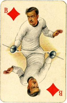 Fencing, Amsterdam 1928, from the Worshipful Company of Makers of Playing Cards collection, by London Metropolitan Archives, via Flickr