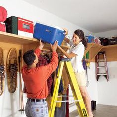 Garage Storage Ideas: Find Unused Space Create a huge, accessible storage platform on the upper walls of your garage without taking up any floor space. With these wide shelves you can make 150 square feet of storage space in a weekend. Do It Yourself Organization, Garage Organization, Garage Storage, Storage Spaces, Organization Ideas, Garage Shelving, Garage Shed, Garage House, Diy Garage