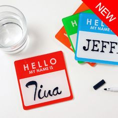 Name Tag Coaster Pads $12 for 2. #Coasters #Mollaspace