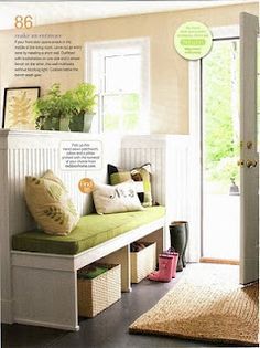 Love the idea of a half wall to make an entry way for that pesky front door in your living room...the family room is partially closed off so I think this would flow nicely