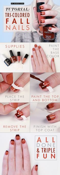 Manicure Tutorial: Tri-Colored Fall Nail Art Click image to go direct to Shopping Cart link. #nails #nailart #nailfashion #polish #Brucci
