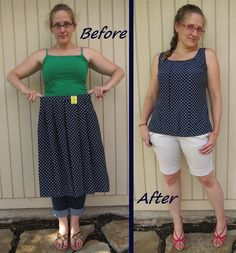 Navy Polka Dot Top - Before & After by nosmallfeet, via Flickr
