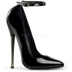 Dagger Black Patent Heels (1.140 ARS) ❤ liked on Polyvore featuring shoes, pumps, heels, shoes and boots, high heels, black court shoes, black heel pumps, black ankle strap pumps, black high heel pumps and high heel pumps