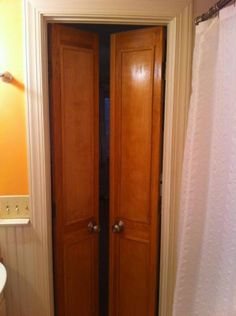 Small bathroom doors that open out instead of in like the door in my bathroom does & Another option - doors for tight spaces. Can be made from a set of ...