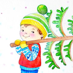 """Aquarell """"Weihnachtsbaum"""" von Doro Kaiser #Kinderillustration #Weihnachtsbaum #winter #Junge"""
