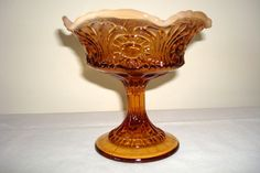 Vintage Fenton Amber Compote  Fenton Glass Amber by Kisses4Lucy