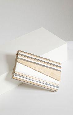 Simone Asymmetrical Wood Clutch