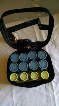Conair Hair Hot Rollers Curlers Travel Set 12 Clips Bag w/Black Tote #Conair