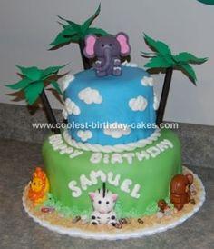Homemade Jungle Safari Birthday Cake