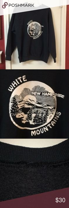 "80's Vintage hipster New Hampshire sweatshirt Vintage White Mountains black and white printed sweatshirt, in great condition! Whether you have fond memories of New Hampshire or just wish you did, we've got you covered. Pit-to-pit measures ~20."" Shirts Sweatshirts & Hoodies"