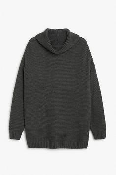 Monki Image 1 of Knit sweater  in Dark Grey
