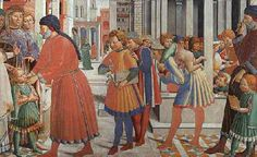 Benozzo Gozzoli, The School of Tagaste, 1470, detail. From a fresco in San Gimignano.     Starting from the left, the boy is outfitted in a hanging-sleeve cioppa. He wears matching hose and no visible shoes. His farsetto, underneath the cioppa, is a rich red. The father's robe is more elaborate, with angelwing sleeves and reaches the ground.  The professor examining the boy wears a longer red robe, lined in dark grey.  The two youths wear a garment similar to a giornea called a gonnellino.