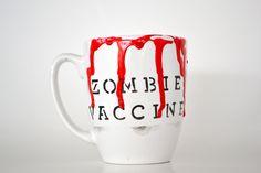 Zombie vaccine mug. Creepy, Scary, Halloween Mug, Pottery Painting, Coffee Mugs, Cool Stuff, Cute, Zombies, Hand Stamped