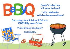Daddy BBQ Baby Shower Invitations by PaperMonkeyCompany on Etsy, $1.00