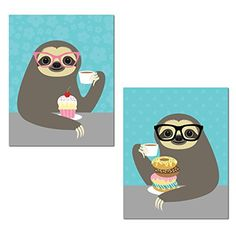 Adorable Cupcake and Donut Eating Hipster Sloth Set; Perfect for Any Kid's Room; Two 11x14in Unframed Paper Poster