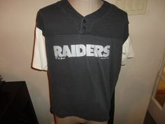 True Vintage 1993 Black Los Angeles Raiders NFL Football The Game Raglan 2 Button Baseball Jersey Style Tshirt Fits Adult XL Rare Nfl Football Games, Baseball Jerseys, College T Shirts, Nfl Sports, Raiders, Fitness, Mens Tops, Age, Black
