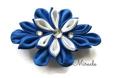 Flower Hair clip Blue and white colour Kanzashi by SewMiracle