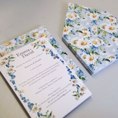 bespoke spring daisy flower invitations designed by Skinny Malink.  Alternative bespoke Stationery for any occasion.
