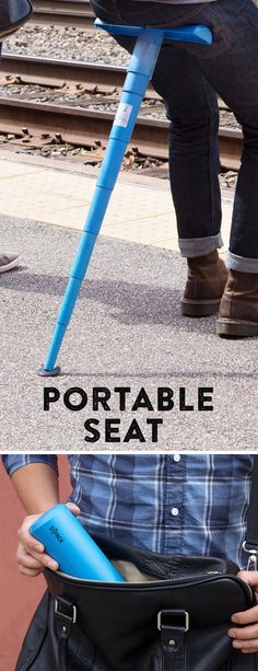 Sit anywhere (lines, concerts, games). This telescoping seat expands into T-shaped surface, then collapses to slip into your purse or backpack.
