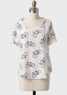First Gear Bicycle Print Top | Modern Vintage Tops | Modern Vintage Clothing