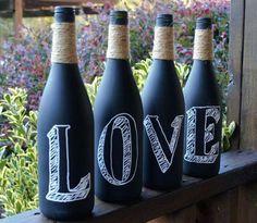 Botellas hechas pizarrón
