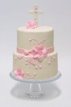 Tarta comunion blanca y rosa