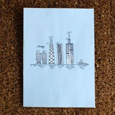 Chicago Buildings Print 5x7 by Sara Selepouchin tres cute
