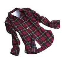 Black red Botão de algodão Mulheres Casual lapela Mantas Verifica flanela camisa Top Blusa