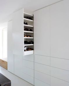 retractable cupboard for shoe storage by Holzrausch Wardrobe Closet, Closet Bedroom, Closet Space, Walk In Closet, Master Bedroom, White Closet, White Wardrobe, Dressing Room Closet, Bedroom Cupboards