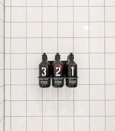 Rudys Barbershop Soap Trio/Remodelista. Shampoo, Conditioner and Body Wash caddy.
